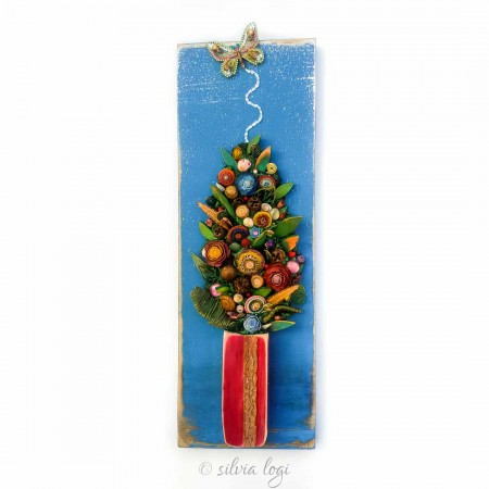 pannello floreale sfondo azzurro 20x60x5