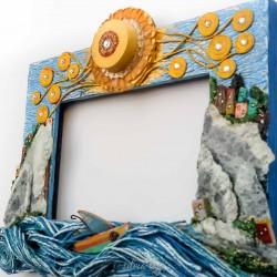 cornice isole di sasso e barchetta 26x 21×4 vista lato