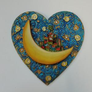 18 x 18  cm quadretto cuore sospeso